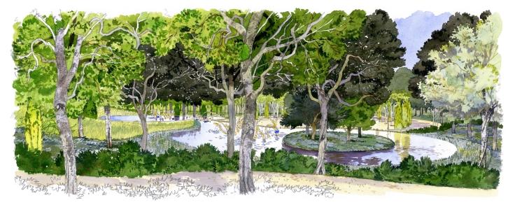 L'île du bassin bas au travers des fûts de chênes verts. Au loin, le ballet des fontaines de Jean-Michel Othoniel. Aquarelle. © Fabrice Moireau / Agence de Louis Benech.
