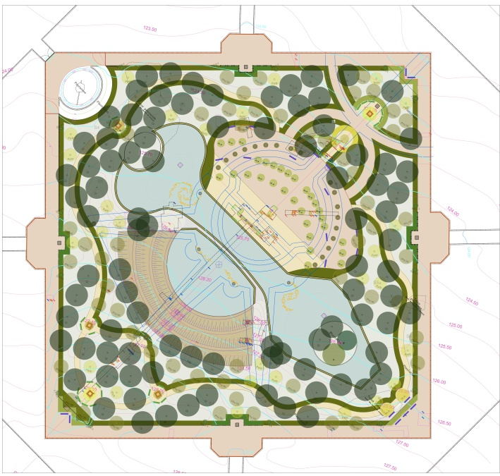 Plan du bosquet du Théâtre d'Eau. Projet de Louis Benech ©Agence de Louis Benech